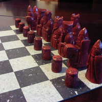 Classic Isle of Lewis Chess Set - Moroccan Red and Antique Stone with 2 extra queens.