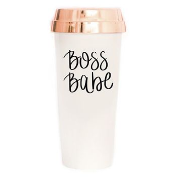 Boss Babe Travel Mug in Cream with Rose Gold Lid