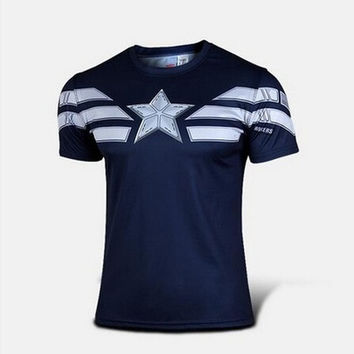 Captain America Cosplay Functional T-Shirt Summer T-Shirt New Style Agents of SHIELD T-Shirt Breathable fabric Dress = 1932319556