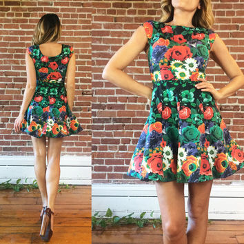 Vintage 1980's FLORAL Mini Baby Doll Crinoline Hem Dress || Size XS Small 0 to 2