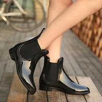 Rubber Boots Waterproof Trendy Jelly Women Ankle Rain Boot Elastic Band Solid Color Rainy Shoes Women