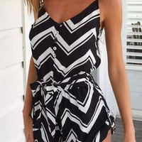 Black Chevron Pattern V-neck Strappy Romper