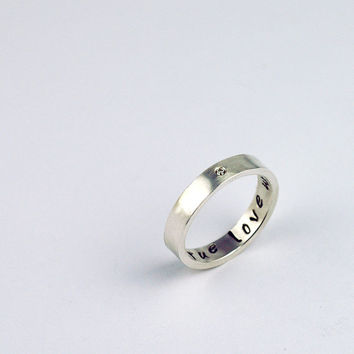 Purity Ring with a single Diamond - True Love Waits - Recycled Sterling Silver - Custom and Personalized