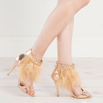 Patent Leather Snake Skin Heels With Gold Beads and Fur