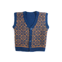 Knitted Baby Vest - Blue and Yellow, 6-12 months