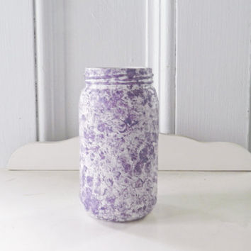 Painted Glass Jar - Painted Mason Jar - Purple and White Mason Jar - Purple Glass Jar  - Glass Vase - Recycled Glass - Upcycled Glass Jar