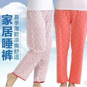 Summer thin women's Sleep Bottoms cotton casual pants Spring loose air conditioning Sleep pants
