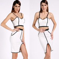 Illusion Bandage Two Piece Skirt Dress