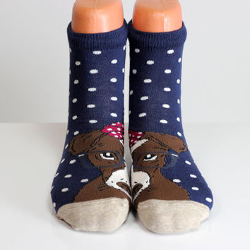 Dog Socks Doggy Socks Blue Socks White Polka Dots Women Girls Boys Socks Women Socks Funny Socks Ankle Socks Animal Socks Cute Fun Socks