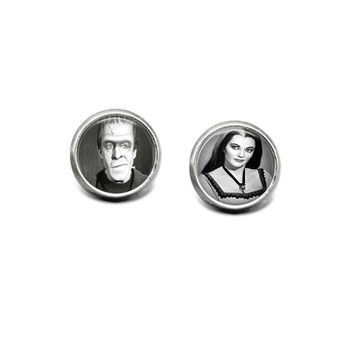 Herman and Lily Munster 12mm Stainless Steel Stud Earrings Handmade