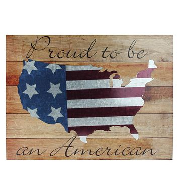 """Stars and Stripes """"Proud to be an American"""" Wooden USA Map Decorative Wall Art 15.75"""" x 12"""""""