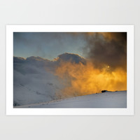 Red sun through the fog. At sunset in the snowy mountains by Guido Montañés