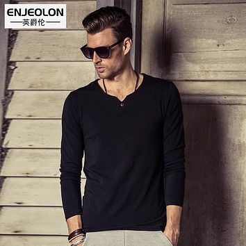 new Men cotton t shirts Black Clothing Man's Long Sleeve button fly T-Shirts Slim Tops Tee