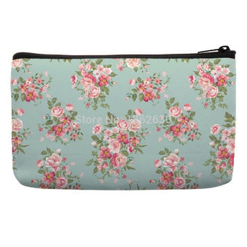Travel Cosmetic Bag in vintage floral pattern in blue pink color travel makeup bag tolietry bags