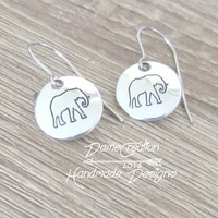 Elephant Earrings, Elephant Jewelry, Silver Elephant Earrings, Elephant Gifts for Women, Elephant for Mom, Wife Earrings Gift