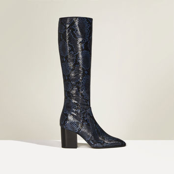 STUDIO PRINT HIGH HEEL LEATHER BOOTS DETAILS