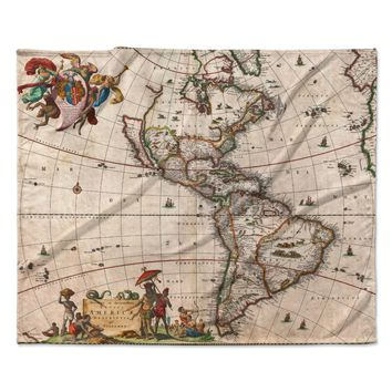 """Bruce Stanfield """"Vintage Map Of The America's """" Brown Green Fleece Throw Blanket"""