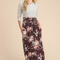 Stripes and Floral Maxi Dress - Burgundy