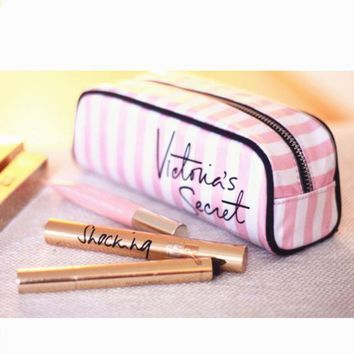 Gotopfashion Victoria's Secret women fashion pink stripe makeup bag""