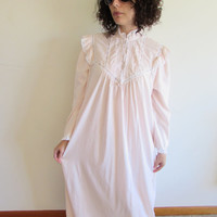 Vintage Soft Light Pink Cotton Modest Maxi Nightgown with Lace Detailing