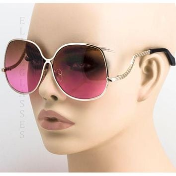 70'S Retro Vintage Large Big Oversized Metal Frame Pink Lens Women Sunglasses