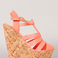Barcelona-04 Strappy Buckle Almond Toe Wedge