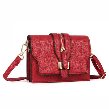 Zipper Detachable Strap Clutch Sling Bag