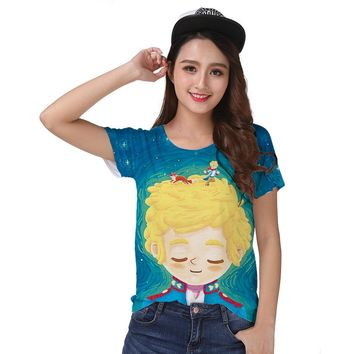 Track Ship+Vintage Retro Good Feeling T-shirt Top Tee Magic Cartoon Story Little Prince Playing with Red Fox Friend 0832
