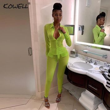 2019 New Mesh See Through Sexy Jumpsuit Women Long Sleeve Buttons Summer Rompers Skinny Pencil Pants Two Piece Set Women Outfits