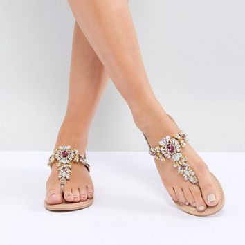 ASOS DESIGN Fairlight Leather Embellished Flat Sandals at asos.com