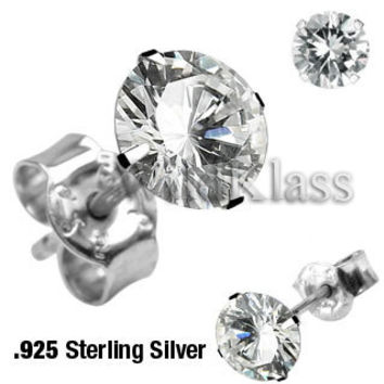 Pair of .925 Sterling Silver Martini Stud Earring w/Round Clear CZ Tiny Stud Earrings Cartilage Earring Helix Jewelry Tragus Piercing