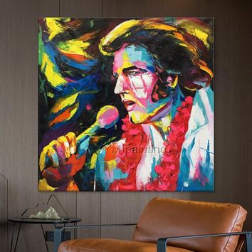 Elvis Face oil painting Francoise Nielly style canvas Painting wall art pictures for living room home decor Palette knife caudros decoracion