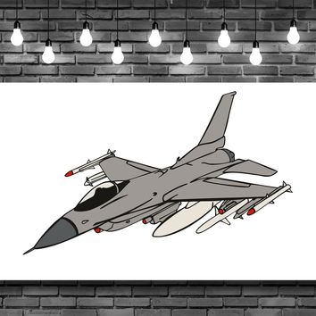Fighter Jet Airplane Wall Art Decal Sticker
