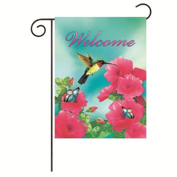 JoyPlus Welcome hummingbird Butterfly Bird& Flower Garden Flag - Vertical Double Sided Spring Summer Decorative Rustic/Farm House Small Decor Flags Set for Indoor & Outdoor Decoration, 12 X 18 Inch