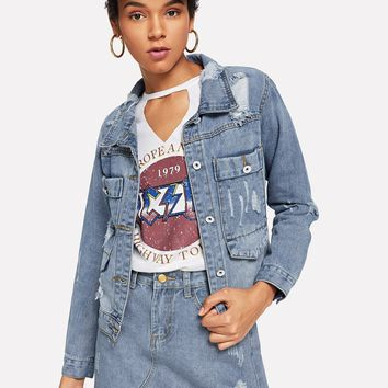 Ripped Pocket Detail Denim Jacket