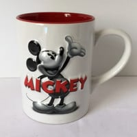 Disney Mickey Mouse Mug Red White Black 3D Large Coffee Cup