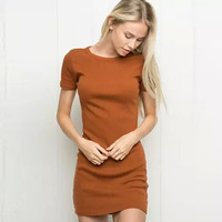 Brand designer style Women Sexy knitting o-neck pullover slim one-piece dress knitted dress female