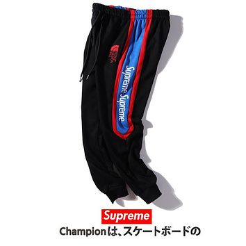 The North Face & Supreme Fashion New Embroidery Letter Print Contrast Color Women Men Sports Leisure Pants