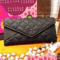 Chanel Women Zipper Leather Purse Wallet Satchel bag Black