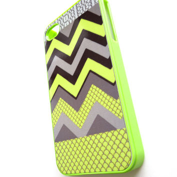 Neon iphone 4 iphone 4S case, Neon Chevron iPhone Case, Ships from USA
