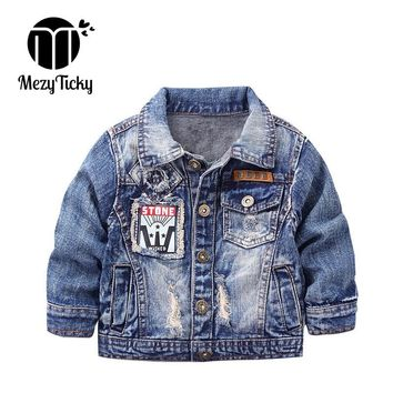 MezyTicky Boys Denim Jacket Windbreaker Cool Kids Parka Coat Clothing Children Winter Outerwear Toddler Canvas Jackets Clothes