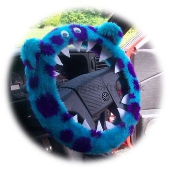Cute Fuzzy faux fur Sully Monster car steering wheel cover