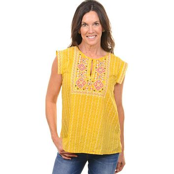 Mustard Aztec Embroidered SS Blouse
