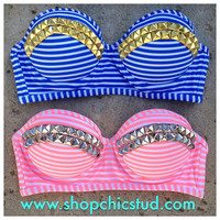 Studded Bikini Top - Swimwear - Blue or Pink Stripes - Gold, Silver, or Black Studs -