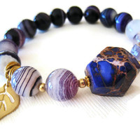 stacking bracelet purple striped agate impression jasper