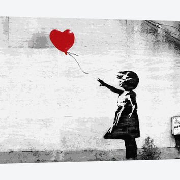 """Girl with a Balloon by Banksy Canvas Print 60"""" L x 40"""" H x 1.5"""" D"""