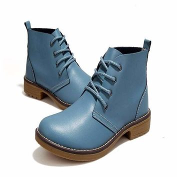 Classic Glossy Leather Lace Up Women Motorcycle Boots
