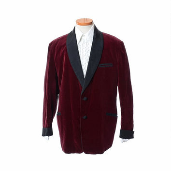 Vintage 60s Mens Velvet Smoking Jacket 1960s Bonnington Burgundy Tuxedo Faille Shawl Lapel Rat Pack Lounge Dinner Jacket / size 44