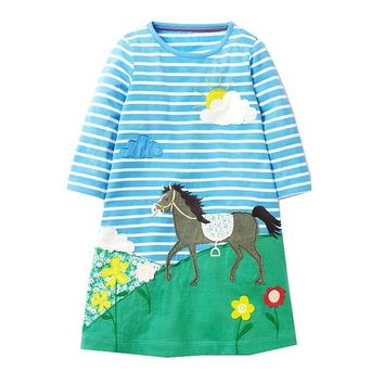 Princess Dress Children Clothing 100% Cotton Casual Tunic Kids Unicorn Party Costume Baby Girls Dresses with Animal Appliques