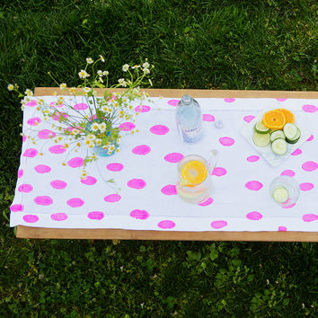 Pink Linen Table Runner